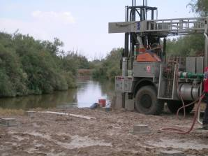 The bank of the Alamo river will likely be affected by strong earthquakes as well as natural erosion. The SAA, being installed in the picture will monitor its lateral spreading.